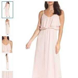 Charles Henry Blush Pink Popover Cami Maxi Dress